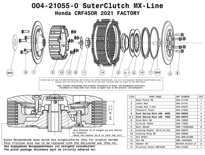 SUTER スーターモトクロスクラッチ ★ファクトリーエディション Honda CRF450R/RX 2021