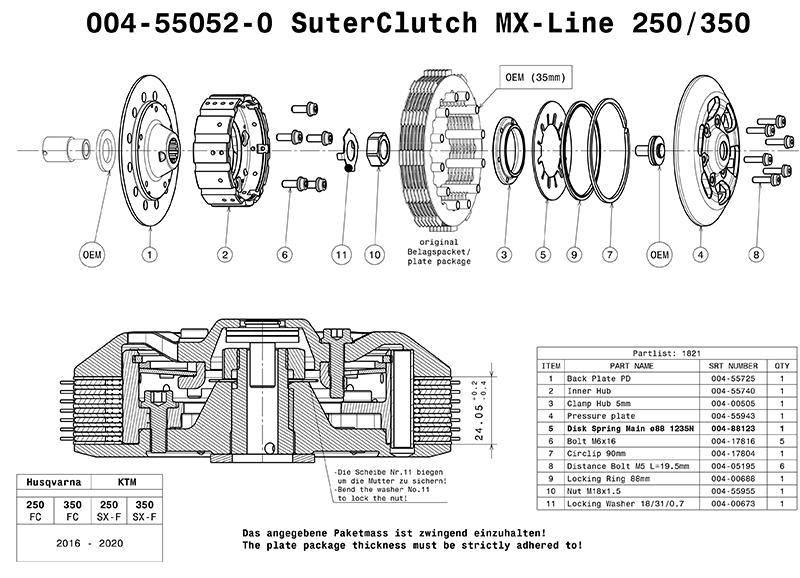 SUTER スーターモトクロスクラッチ KTM 250-350SX-F  2016-2020