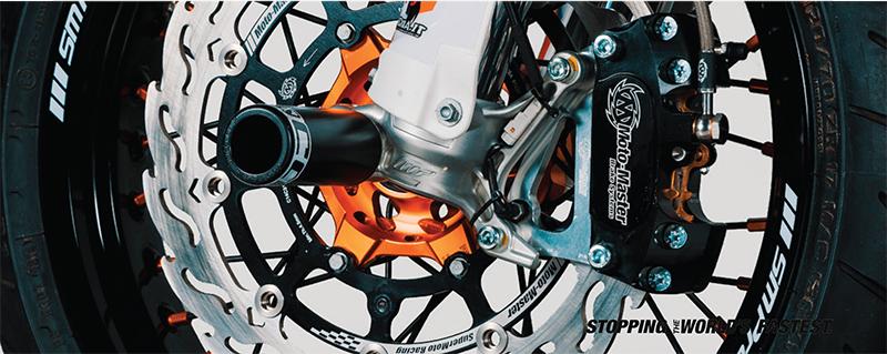Moto-Master(モトマスター)スーパーモト ビレット4Pレーシングキャリパー, キャリパーサポート・パッド付 (ブラック)